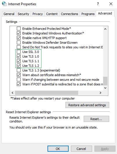 enable ssl/tls versions