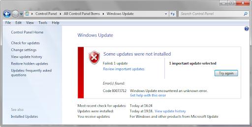 Windows Update Error 80073712