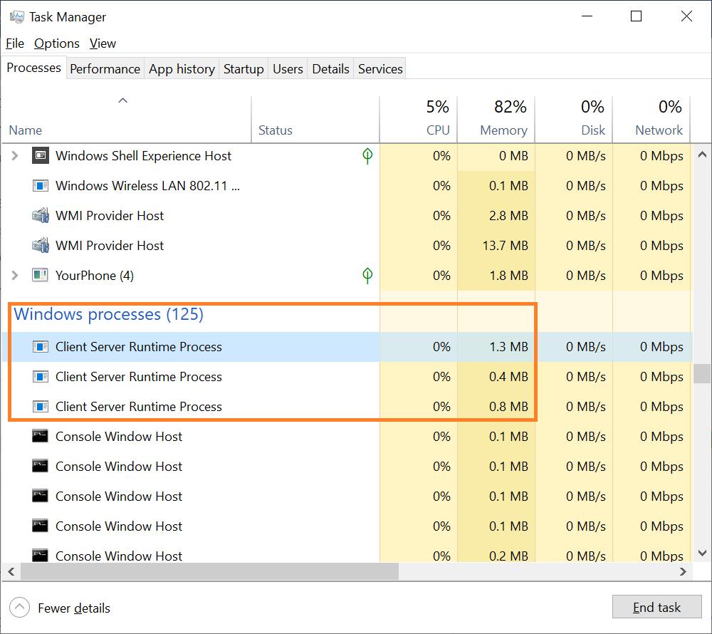 csrss.exe CPU usage